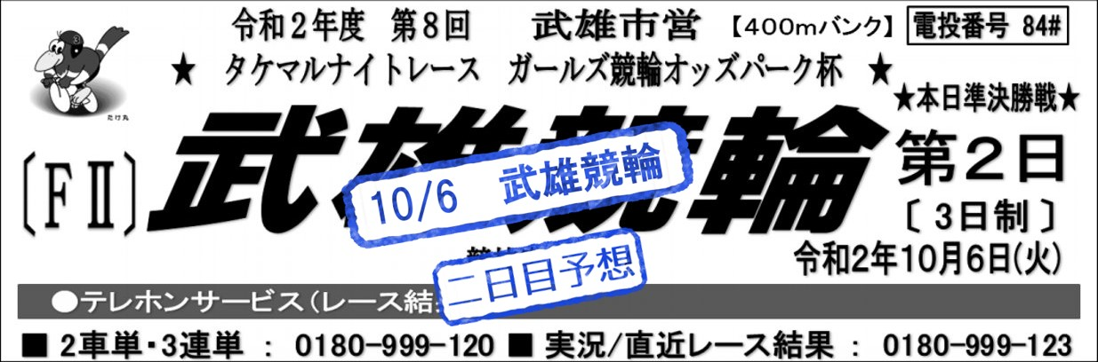 【武雄競輪場】F2ガールズ競輪オッズパーク杯2020 無料予想